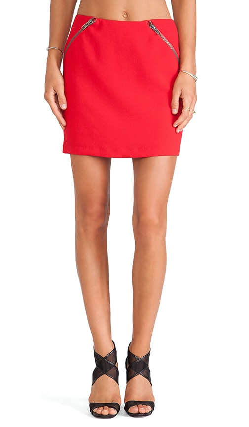 BCBGeneration Zipper Detail Mini Skirt in Vermillion