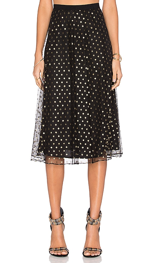 BCBGeneration Pleated Midi Skirt in Black & Gold Combo
