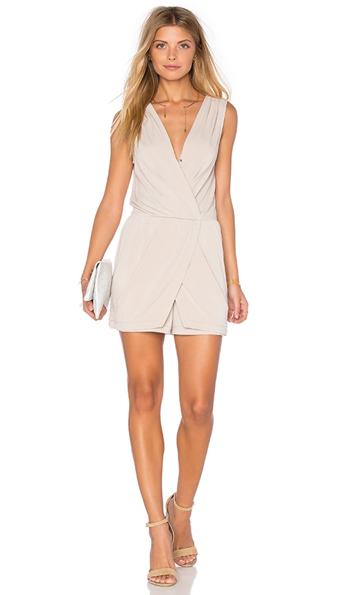 BCBGeneration Drape Wrap Romper in Tan