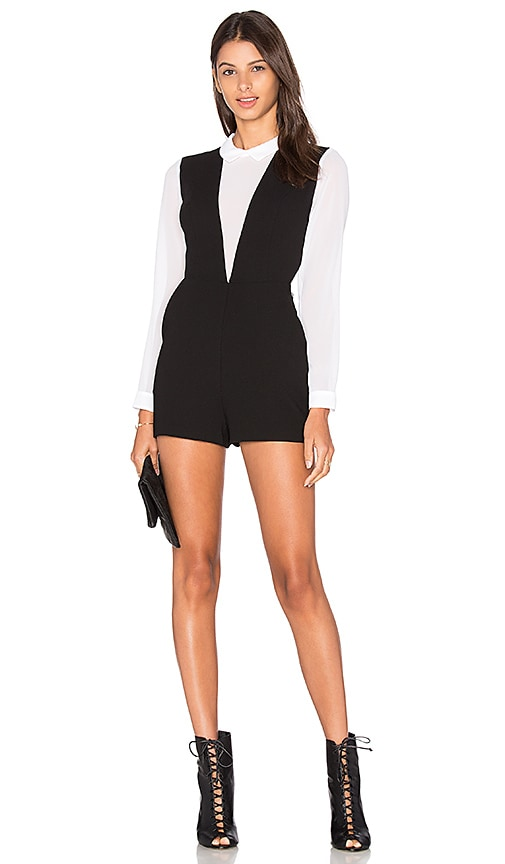 BCBGeneration Deep V Romper in Black & White