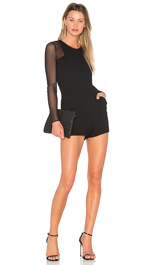 BCBGeneration Sheer Romper in Black