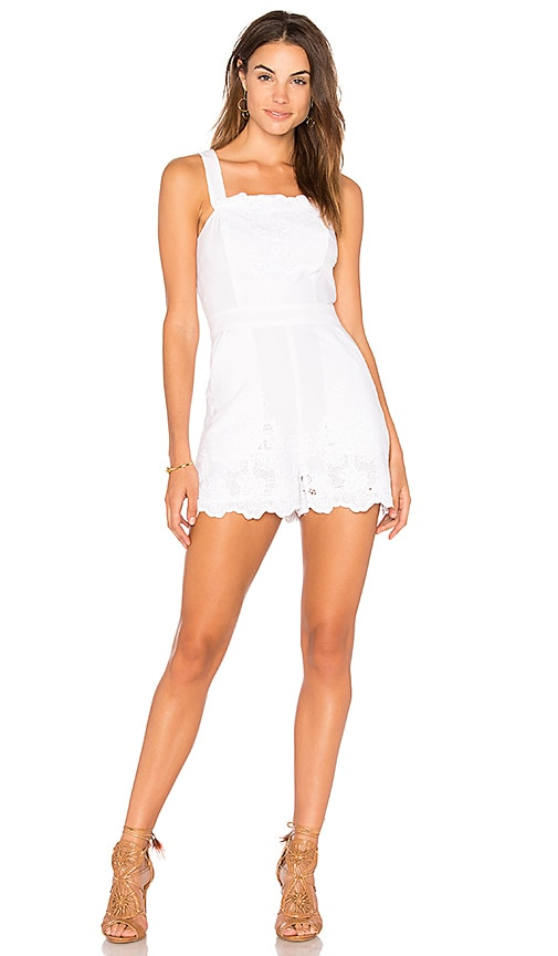 BCBGeneration Lace Overall Romper in White