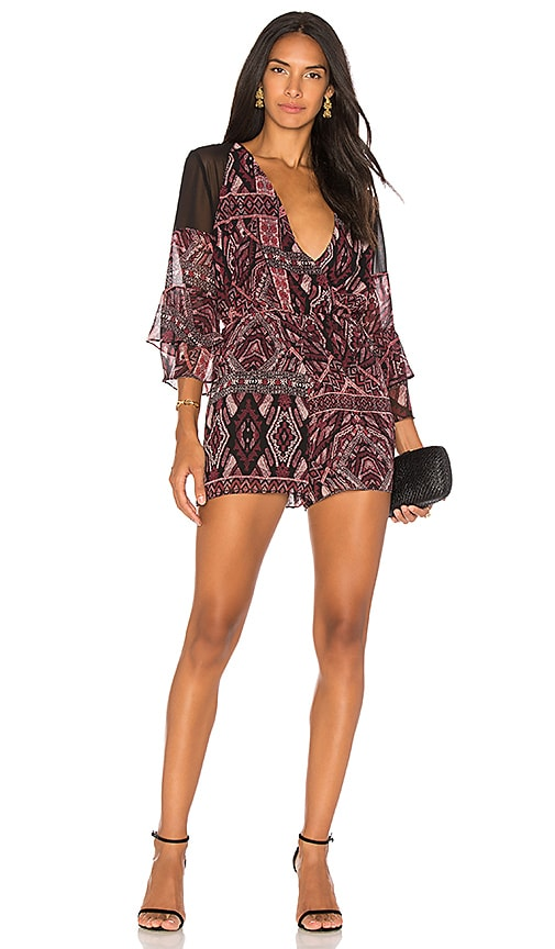 BCBGeneration Ruffle Sleeve Romper In Brulee Black Combo