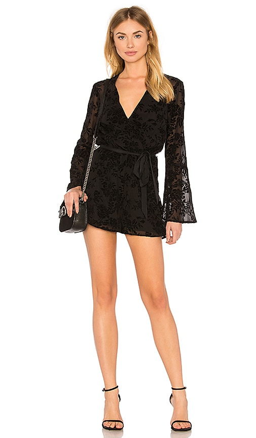 BCBGeneration Bell Sleeve Lace Romper In Black