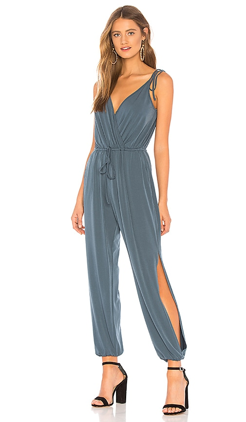 1013f3e58a9a BCBGeneration Tie-shoulder Surplice Jumpsuit in Ash Blue
