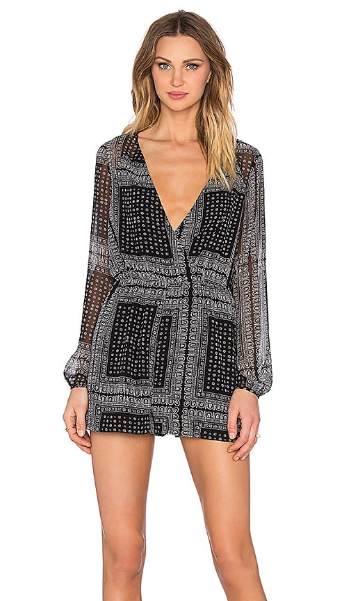 53988a31017 BCBGeneration Long Sleeve Romper in Black Combo