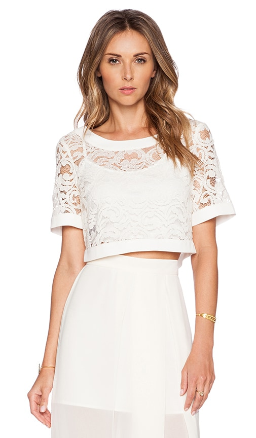 BCBGeneration Knit Crop Top in Whisper White