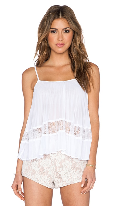 BCBGeneration Pleated Block Tank in Optic White
