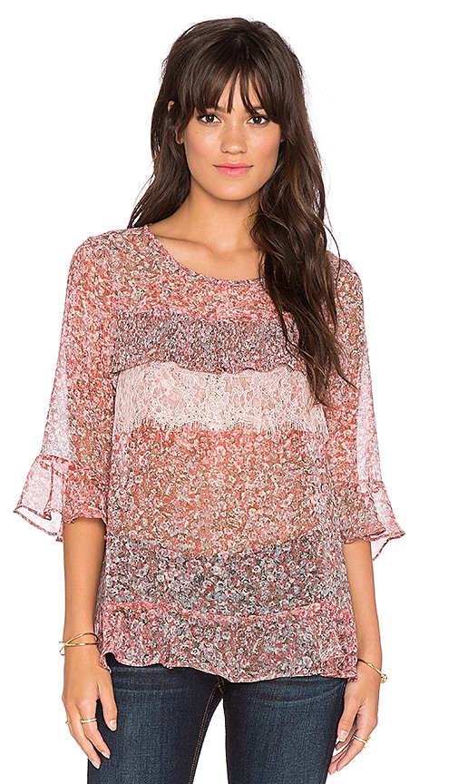 BCBGeneration Multi Tiered Top in Cedar Rose Multi