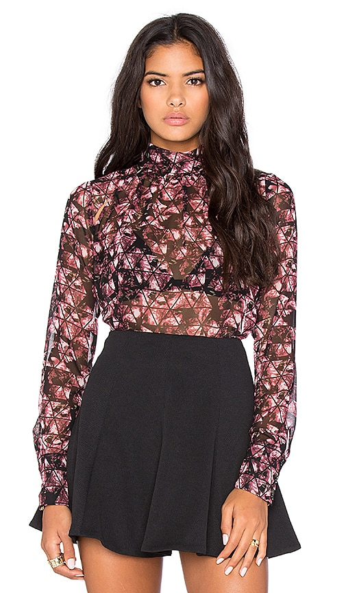 BCBGeneration High Neck Blouse in Crushed Berry Multi