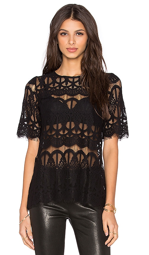 BCBGeneration Lace Top in Black