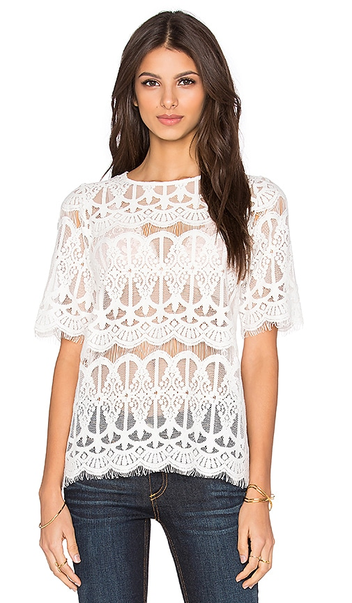 BCBGeneration Lace Top in White