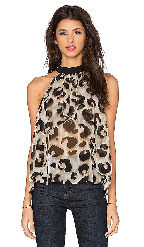 BCBGeneration Animal Print Top in Olive