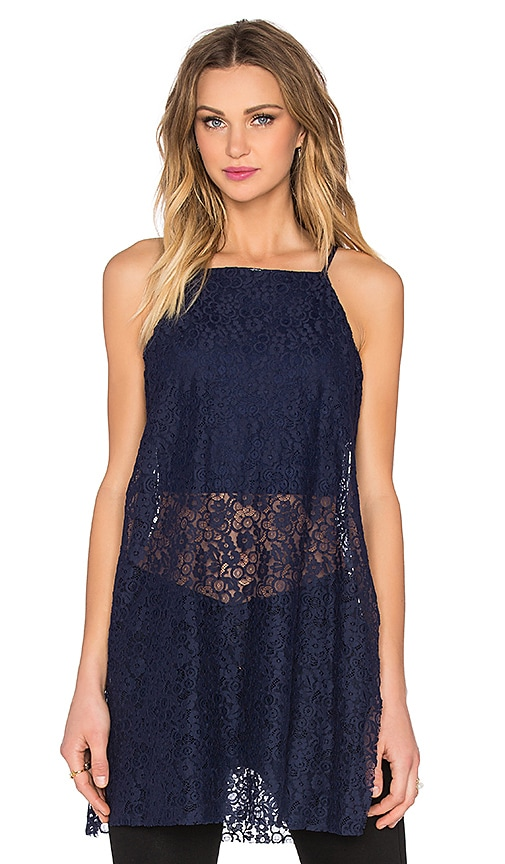 BCBGeneration Lace Tank in Blue