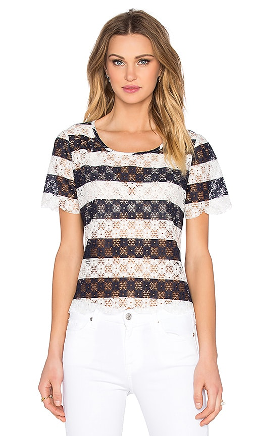 BCBGeneration Striped Lace Top in Blue