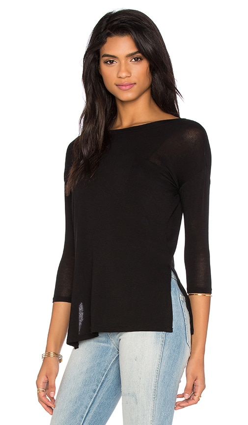 BCBGeneration Side Slit Tee in Black