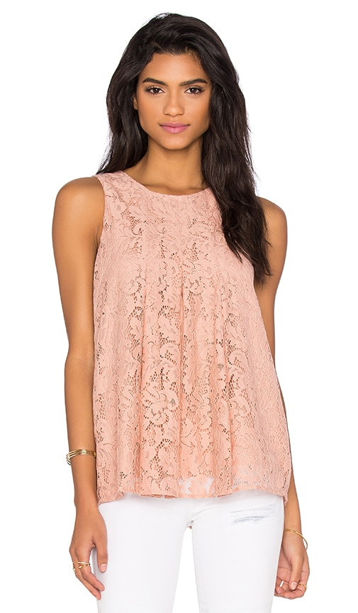 BCBGeneration Lace Flare Tank in Blush