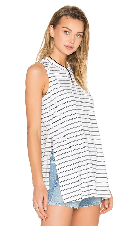BCBGeneration Side Slit Tank in Black & White