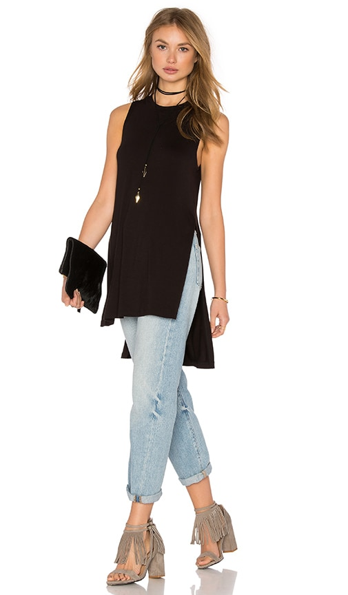 BCBGeneration Side Slit Tank in Black