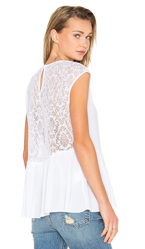 BCBGeneration Lace Back Boxy Top in White