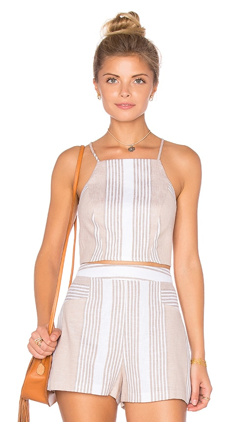BCBGeneration Striped Racer Back Crop Top in Sand Combo