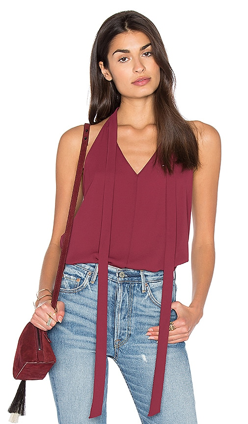 BCBGeneration Tied Neck Tank in Burgundy