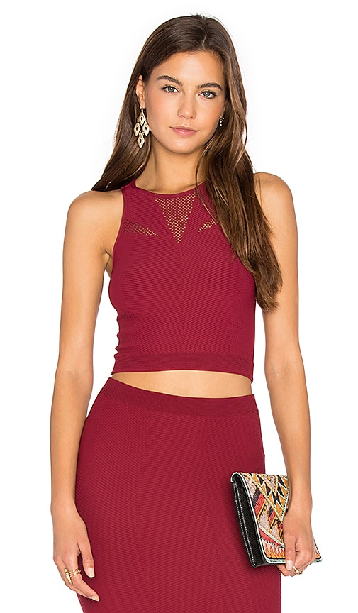 BCBGeneration Mesh Crop Tank in Red
