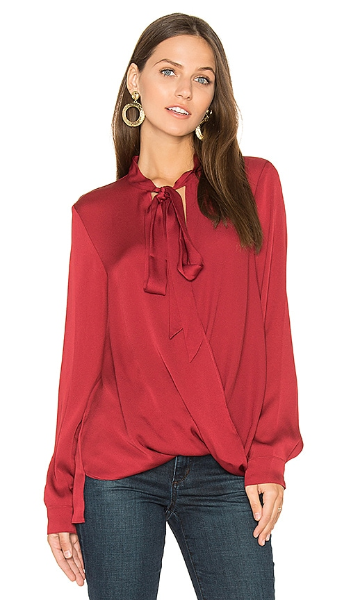 BCBGeneration Surplice Blouse in Red