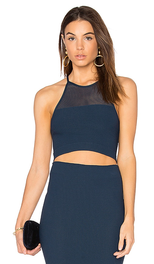BCBGeneration Mesh Crop Tank in Navy
