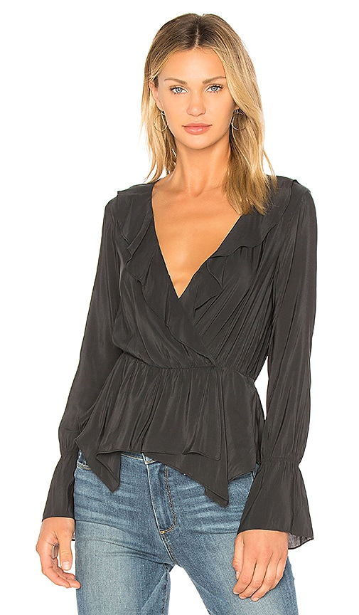 BCBGeneration Handkerchief Hem Surplice Top In Black