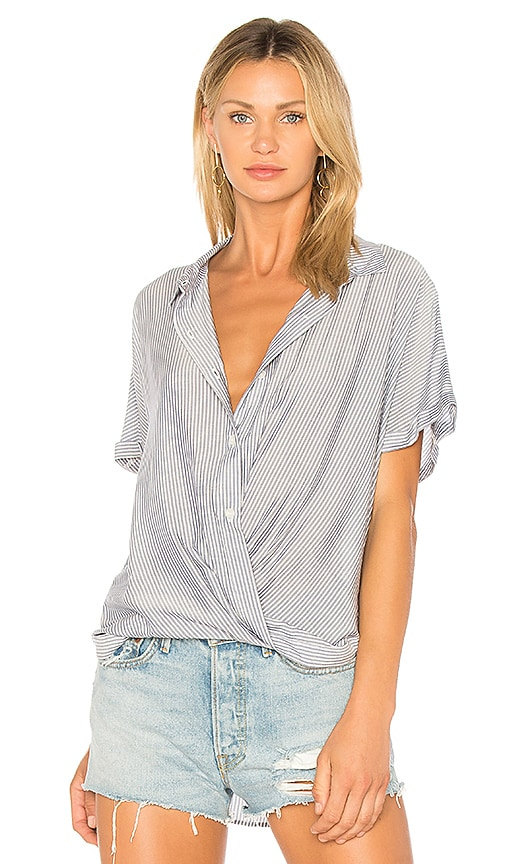 Wrap Hem Dolman Shirt In Dark Navy Combo