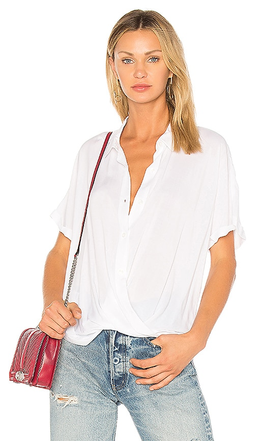 BCBGeneration Wrap Hem Dolman Shirt In Optic White
