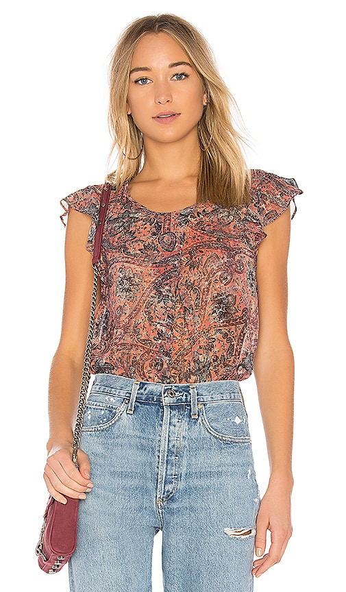 BCBGeneration Crossover Pleat Ruffle Sleeve Top In Rust Multi