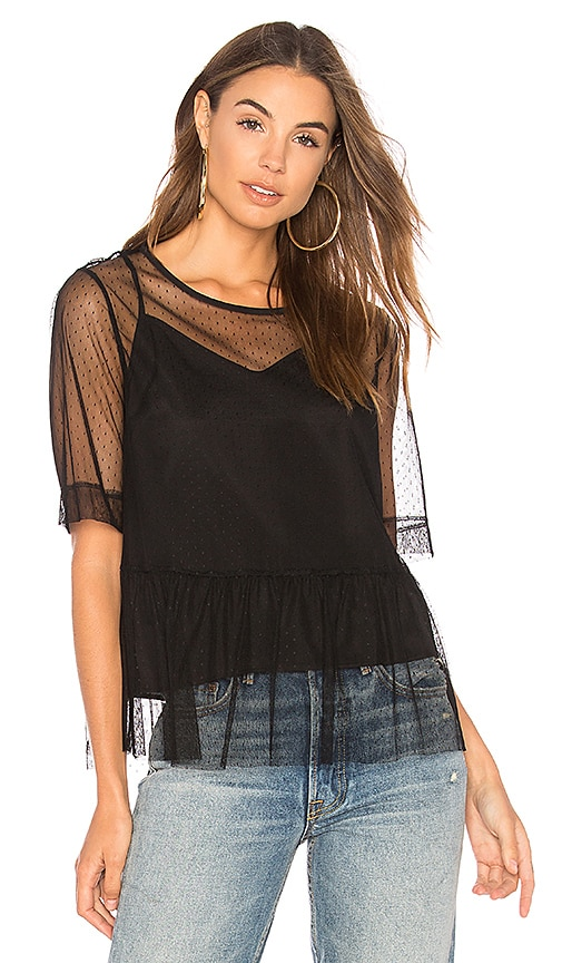 BCBGeneration Mesh Boyfriend Sleeve Top In Black