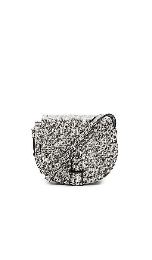 BCBGeneration Crackle Pebble Saddle Bag in Black & White