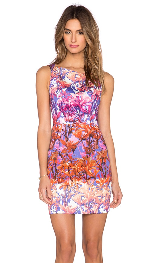 Black Halo Shanna Mini Dress in Fuchsia Floral Print