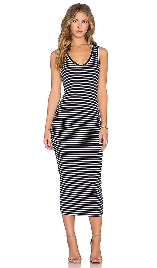 Bishop + Young Alba Stripe Midi Dress in Navy