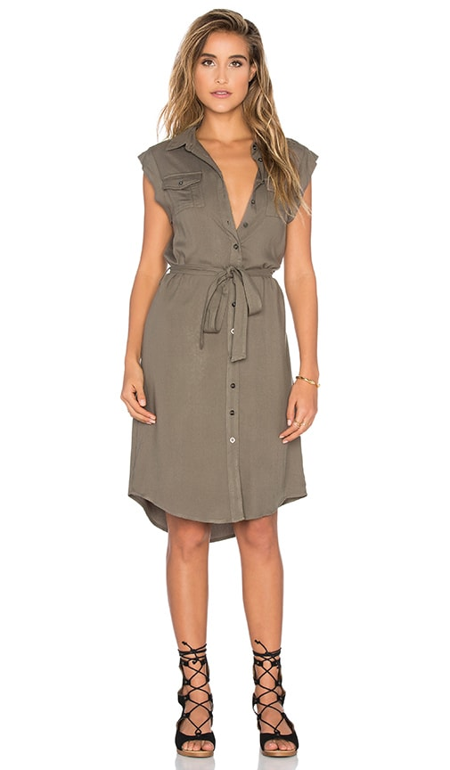 Bishop + Young Maia Sleeveless Military Dress in Olive