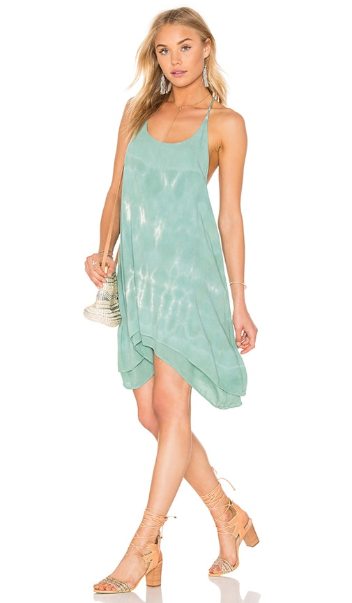 Bishop + Young Tie Dye Strappy Dress in Green