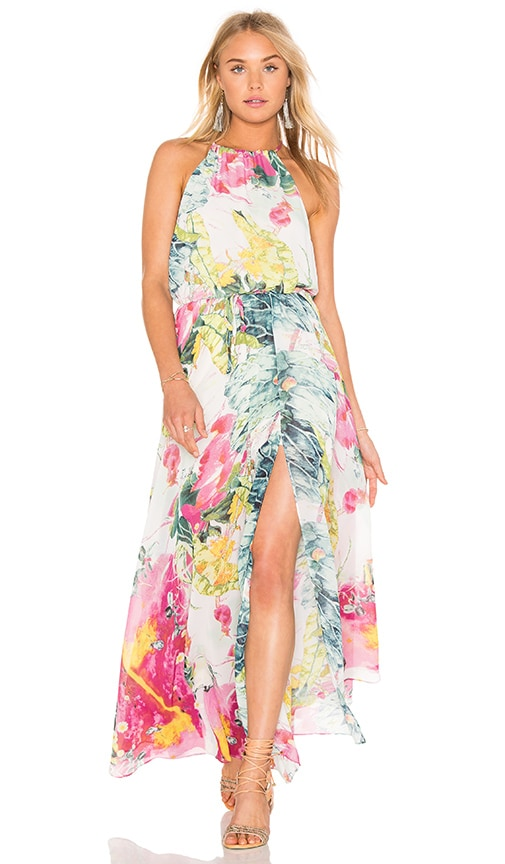 Bishop + Young Floral Maxi Dress in White Floral Print