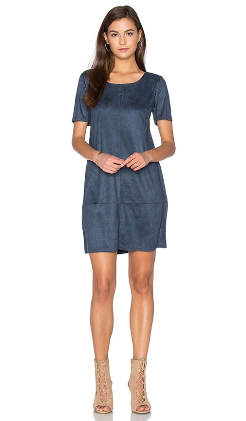 Bishop + Young Ivy Suede Shift Dress in Blue