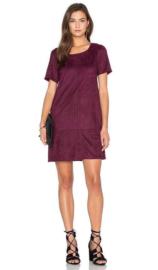 Bishop + Young Ivy Suede Shift Dress in Burgundy
