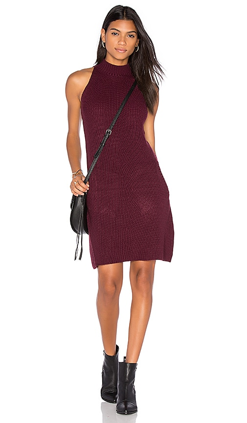Bishop + Young Scarlett Ribbed Sweater Dress in Burgundy