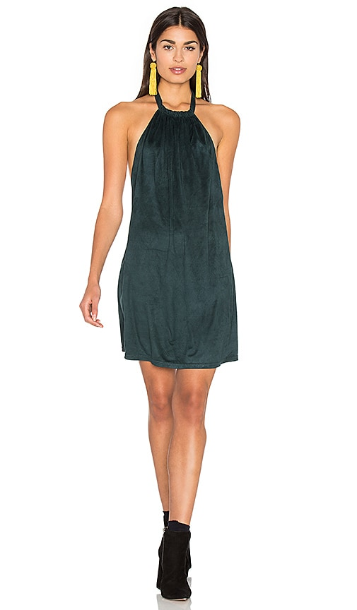 Bishop + Young Suede Halter Dress in Dark Green