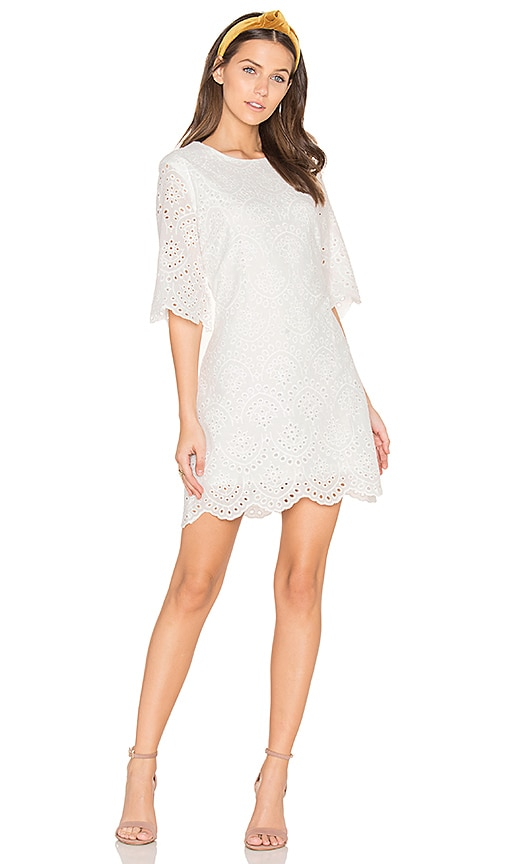Bishop + Young Scalloped Mini Dress in White