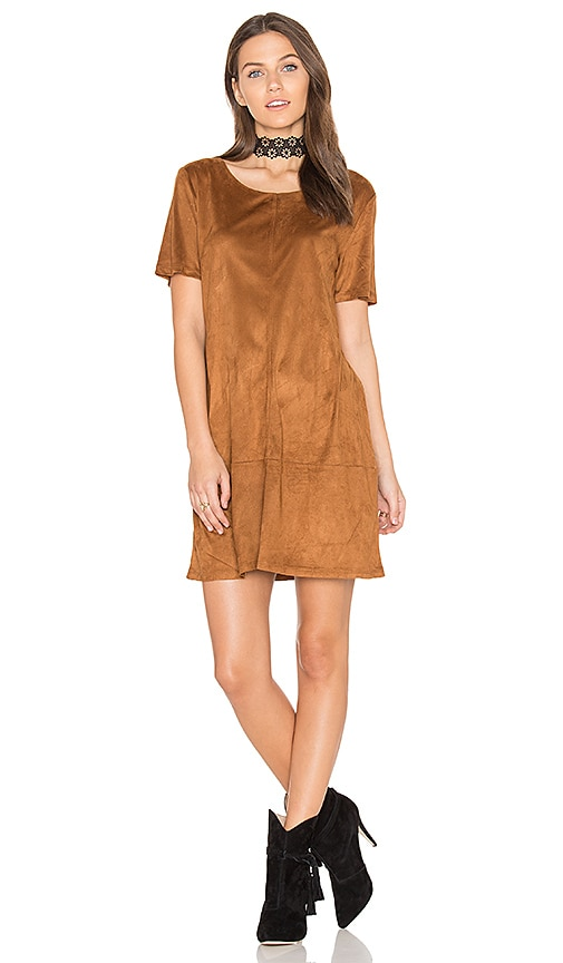 Bishop + Young Sueded Ivy Shift Dress in Cognac