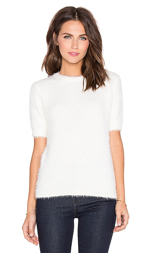 Bishop + Young Fluffy Short Sleeve Sweater in Ivory