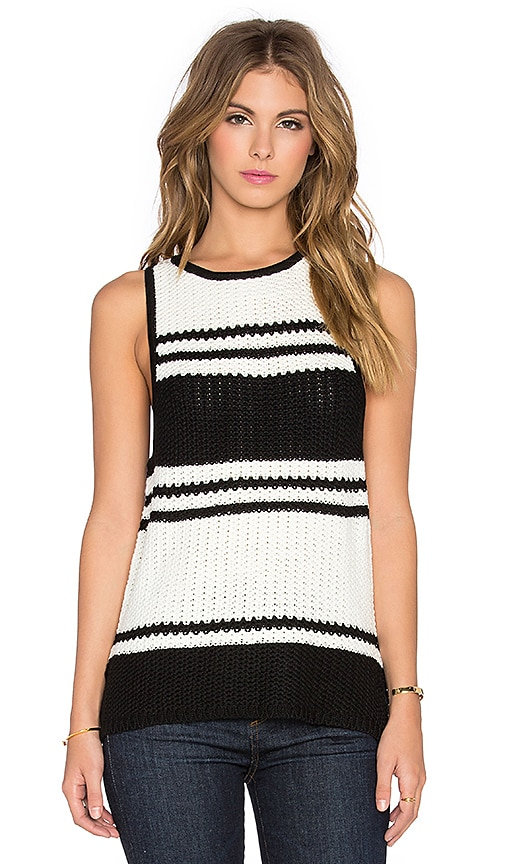 Bishop + Young Stripe Tank Sweater in Black Stripe