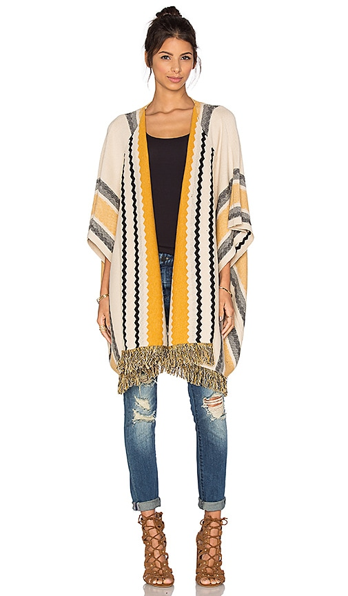 Bishop + Young Striped Fringe Sweater in Beige