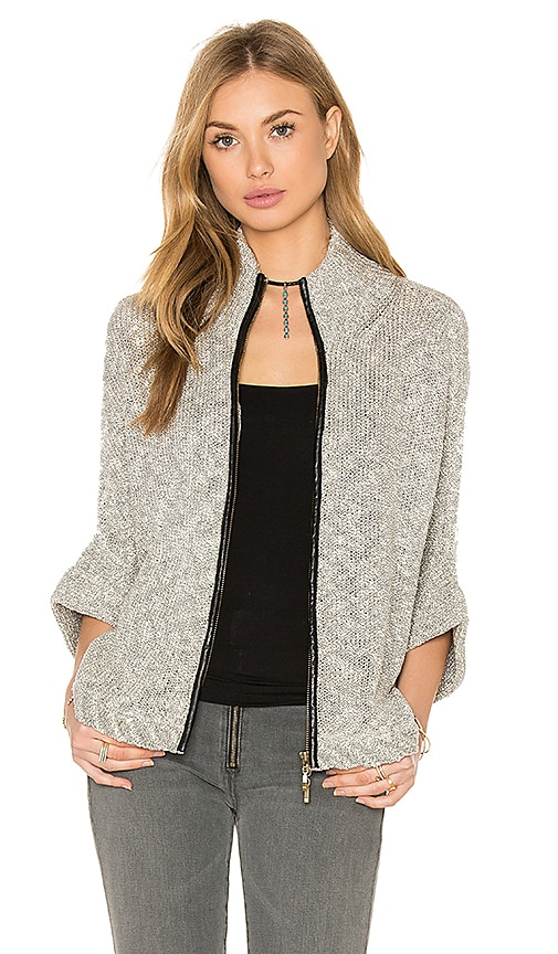 Bishop + Young Ana Zip Up Cape Sweater in Gray